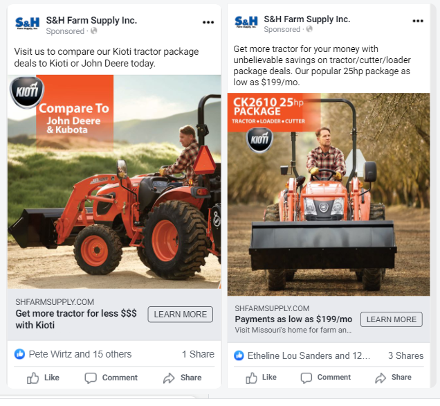 Facebook Paid ads comparison example