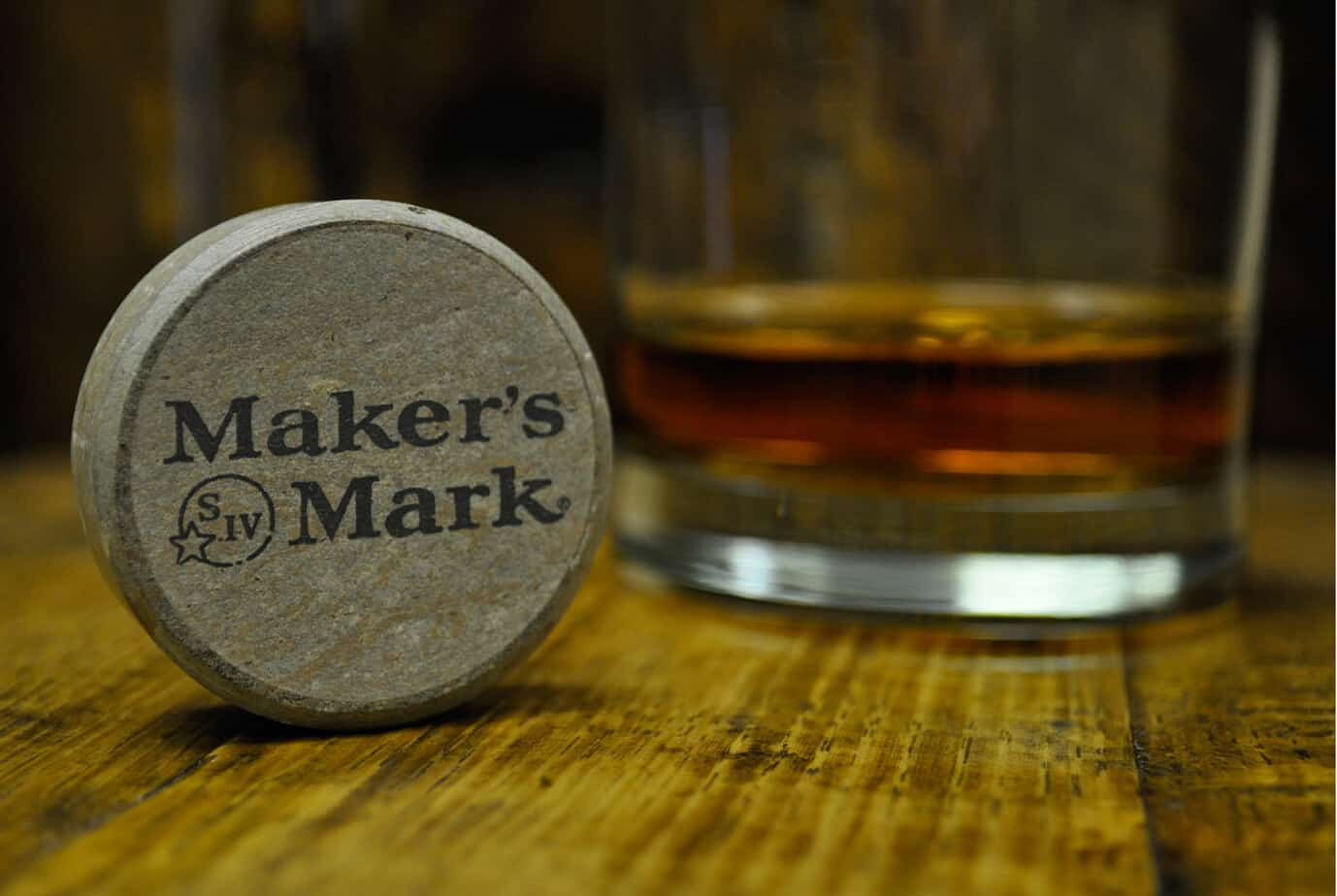 Close up picture of Makers Mark branded cap