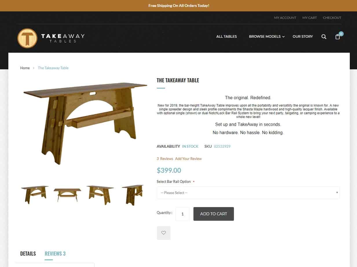 Takeaway Tables Ecommerce